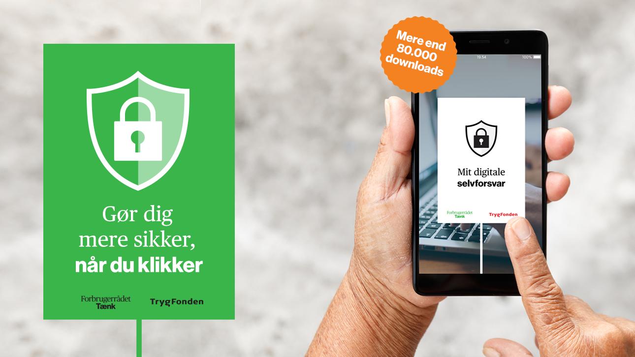 Billede telefon med appen 'Mit digitale selvforsvar'