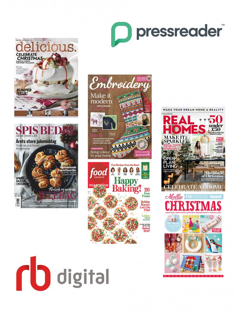 Forsider og logo fra RBdigital og PressReader